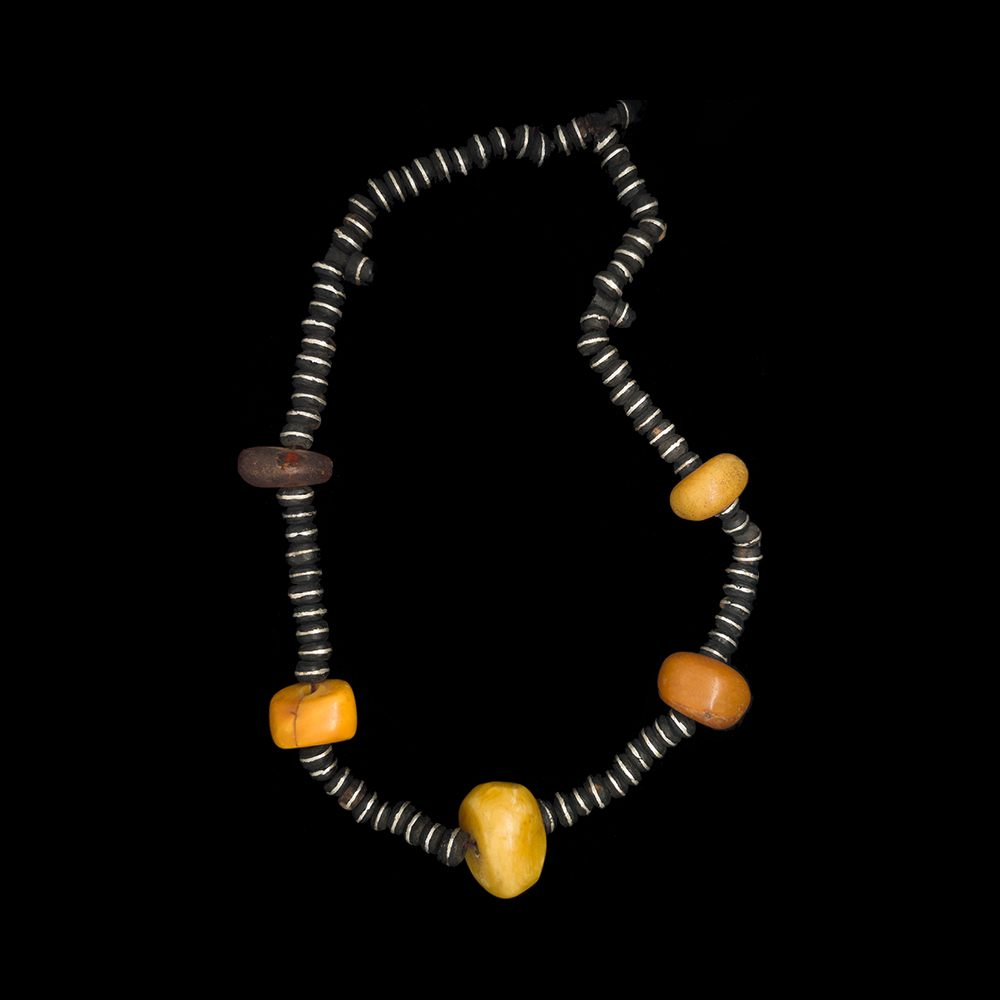 Amber and ebony wood bead necklace