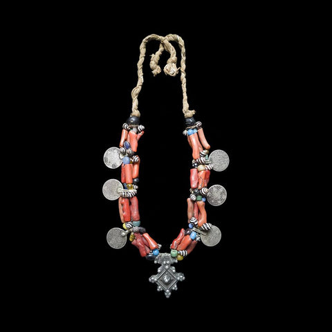 Vintage coral and silver Berber necklace