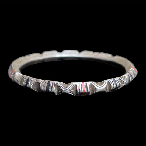 Vintage silver Saharan Tuareg inlaid bangle bracelet from Guelmim