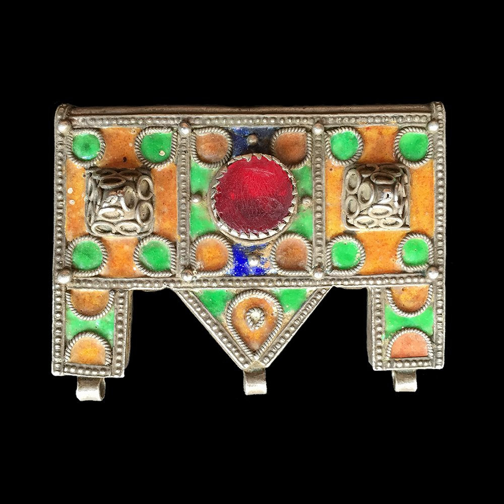 Antique silver enamelled hirz (amulet) from Ida ou Semlal, Morocco