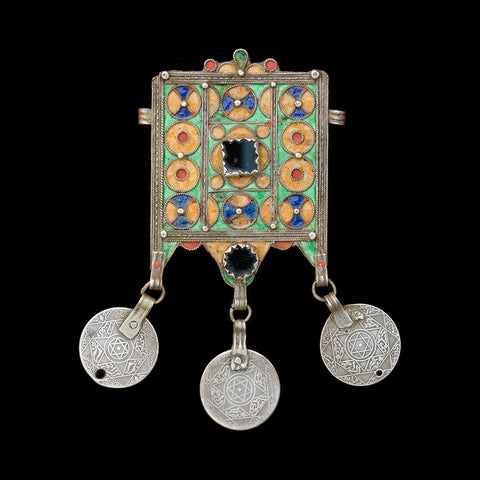 Antique silver enamelled amulet from Morocco