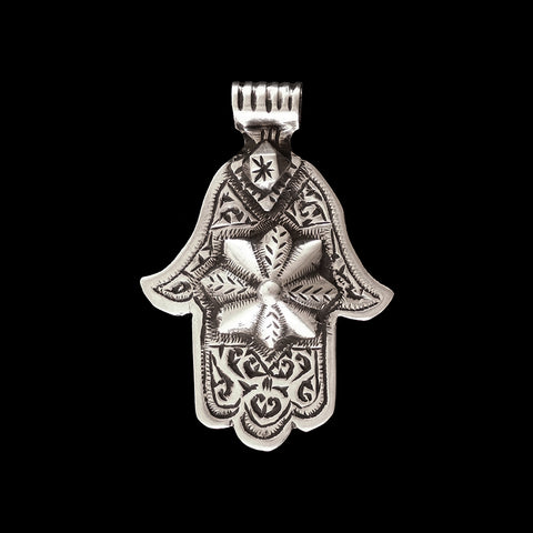 Vintage silver khamsa pendant from Morocco