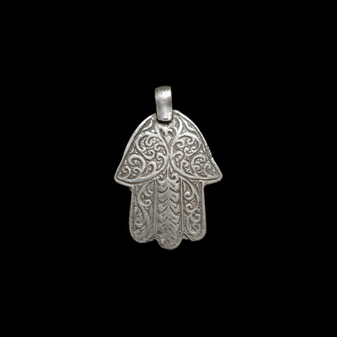 NEW PRICE Vintage silver khamsa pendant from Fez, Morocco - medium