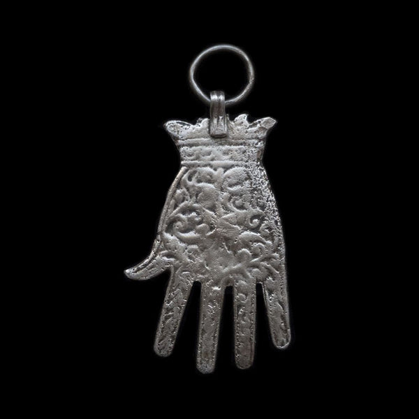Antique silver Khamsa pendant from Meknès, Morocco
