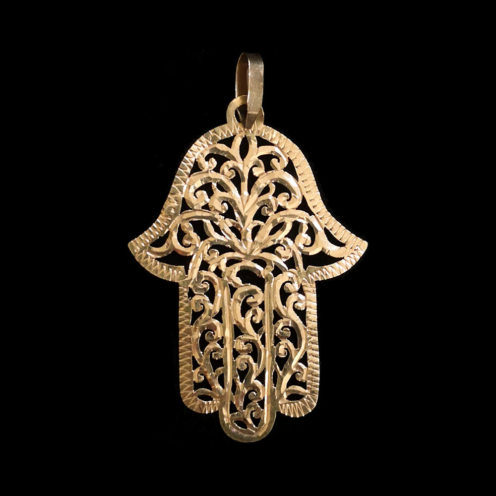 Rare vintage 18-carat gold khamsa pendant from Morocco - medium