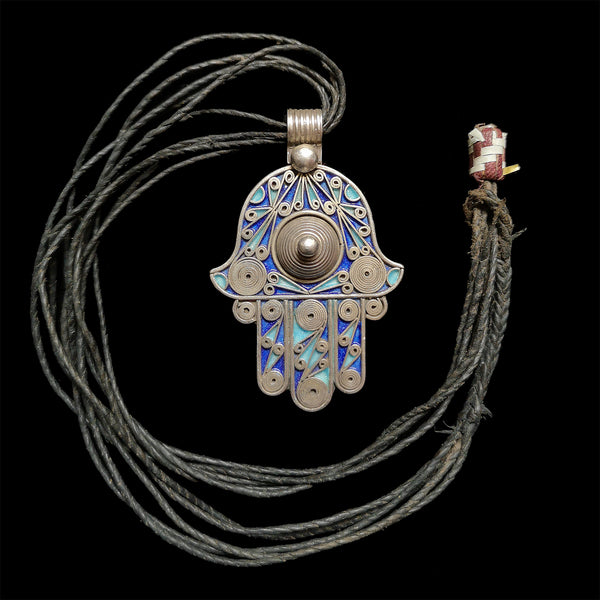 Silver and enamel khamsa pendant from Tiznit, Morocco - medium