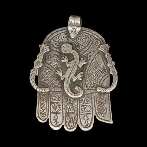 Vintage silver khamsa pendant from Marrakech - medium