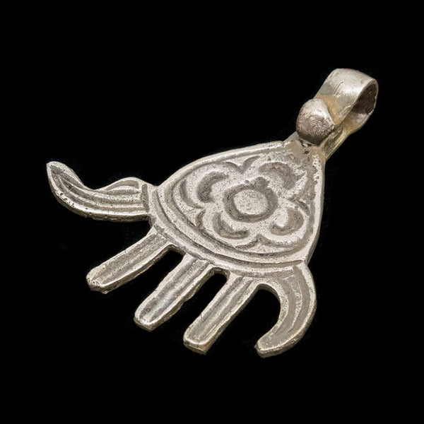Unusual vintage stylised khamsa pendant from Morocco - medium