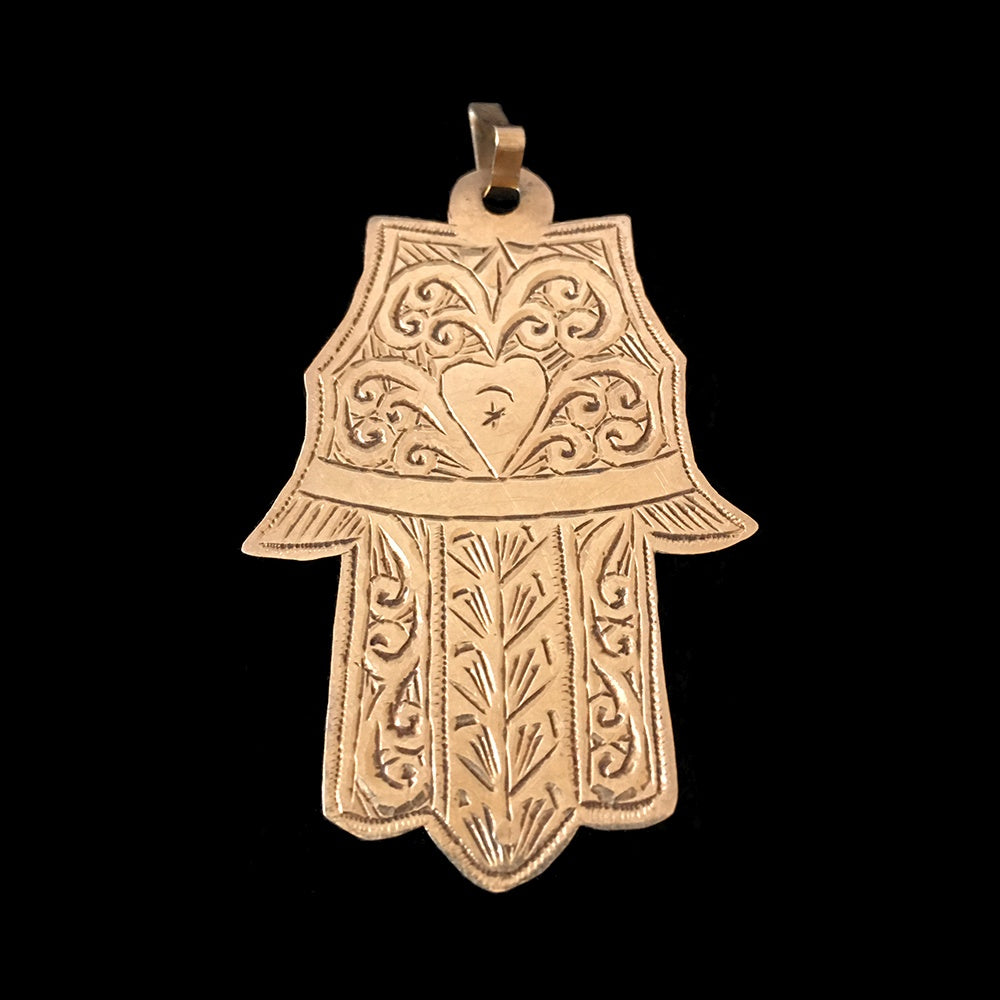 Vintage 18-carat gold khamsa pendant from Morocco
