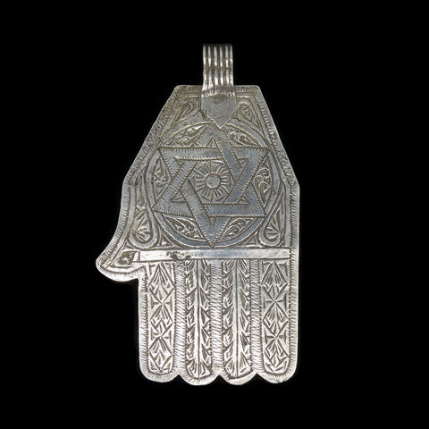 Vintage silver khamsa pendant from Fez, Morocco