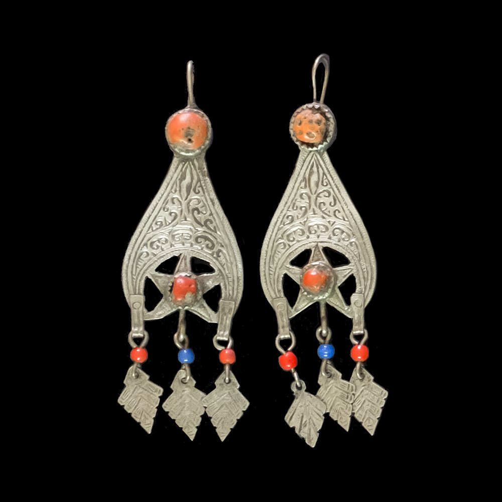 Vintage silver earrings from the Rif Mountains