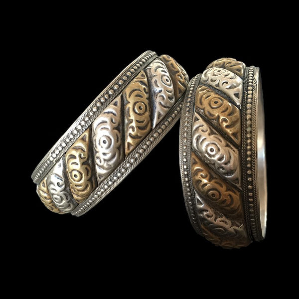 Pair of vintage 'shams wa qmar' bracelets from Morocco