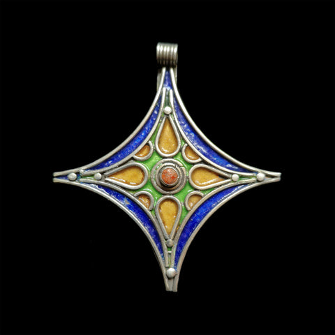 Silver and enamel cross from Tiznit, Morocco