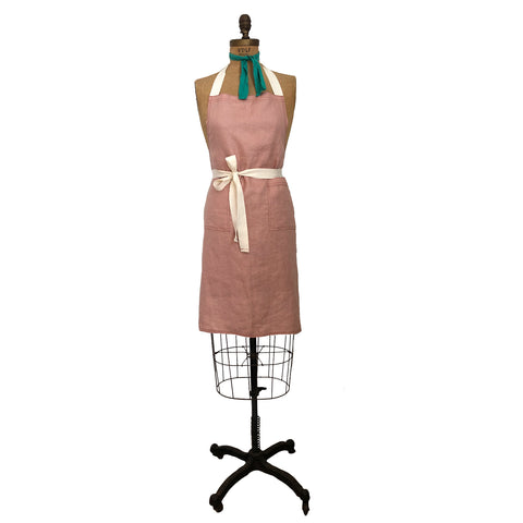 Cucina Linen Apron - Dusty Pink