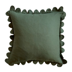 Forest Green Scalloped Pillow