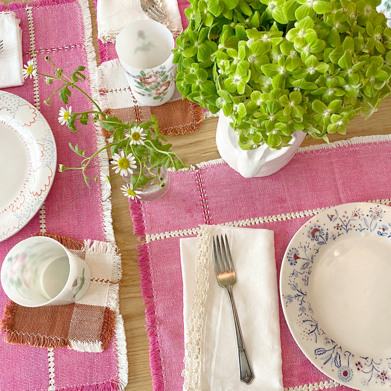 Pink Handwoven Cotton Placemat