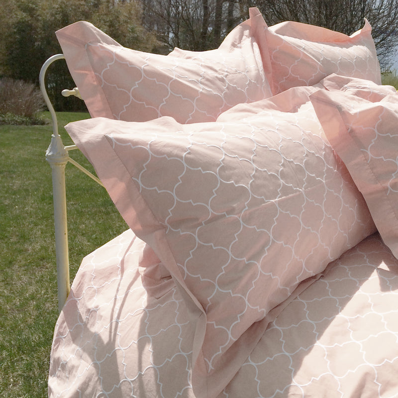 Trellis Embroidered Duvet & Shams - Blush