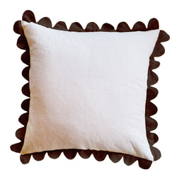 Soft Pink & Chocolate Scalloped Pillow