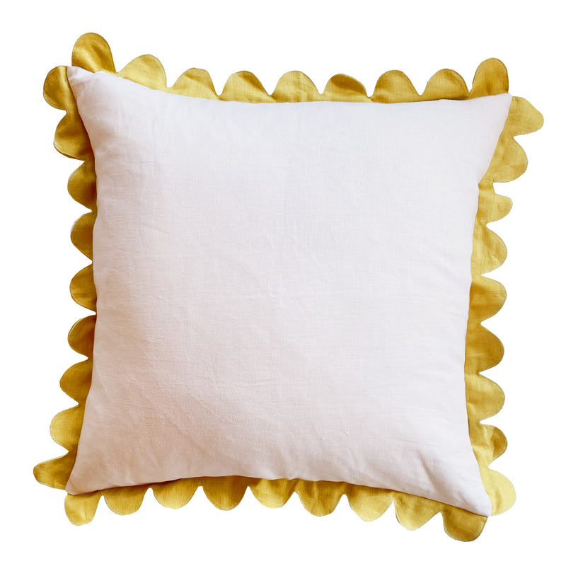 Soft Pink & Mustard Scallop Pillow