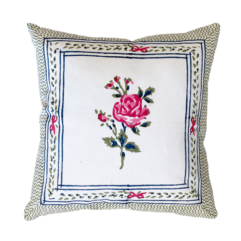 Block Print Rose Pillow Small