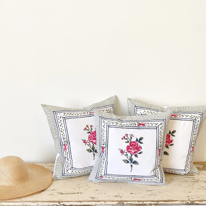 Block Print Rose Pillow Large