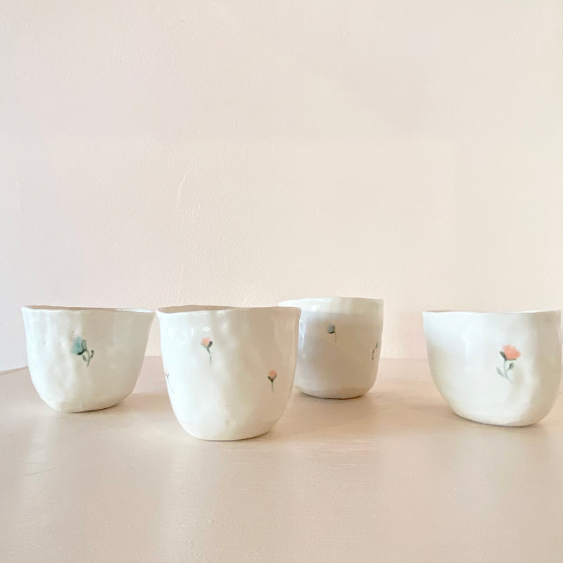 PINCHED PORCELAIN DRINKING CUPS aka VODKA SIPPY CUPS