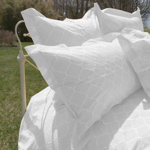 Trellis Embroidered Duvet & Shams - White