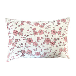 Winfield Flowers Block Printed Pillow - Pink and White