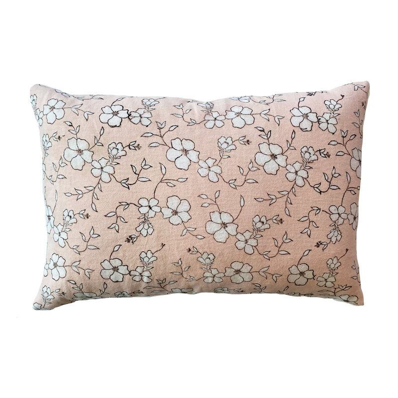 Winfield Flowers Block Printed Pillow - Soft Peach