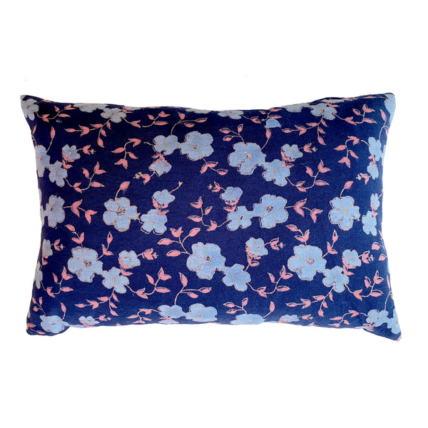 Winfield Flowers Block Printed Pillow -Navy