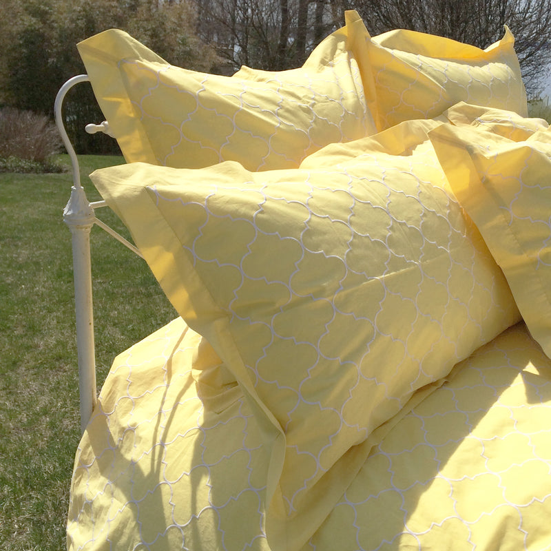 Trellis Embroidered Duvet & Shams - Yellow
