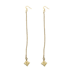 Extreme Snowflake Dangle Brass Earrings