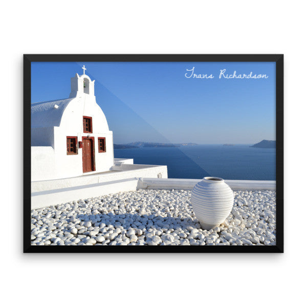 Santorini Solace, Framed Art, - Explore Dream Discover