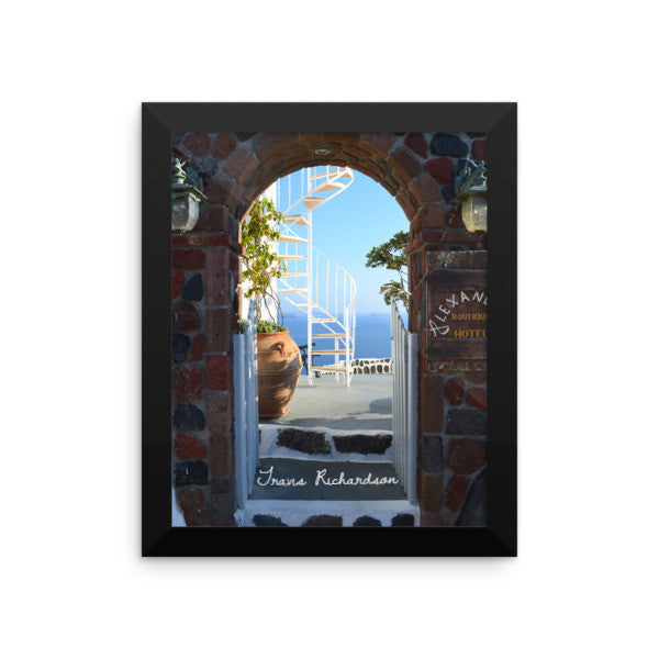 Santorini Spiral, Framed Art, - Explore Dream Discover