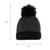 Beanie with Pom Pom (Black) - Melifluos