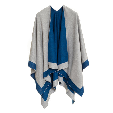 Cardigan Poncho (Blue Gray) - Melifluos