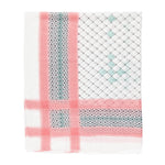 Spanish Design Printed Viscose Scarf (Pink White Geometric)