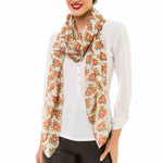 Spanish Design Printed Viscose Scarf (Beige Flower) - Melifluos