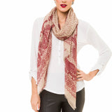 Spanish Design Printed Viscose Scarf (Beige Red Paisley) - Melifluos