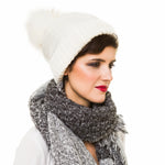 Beanie with Pom Pom (White) - Melifluos