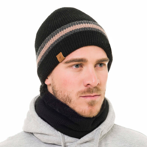 Beanie and Neck Warmer Set (Black) - Melifluos