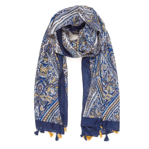Spanish Design Printed Viscose Scarf (Blue Navy Pattern) - Melifluos