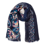Spanish Design Printed Viscose Scarf (Navy Pattern) - Melifluos