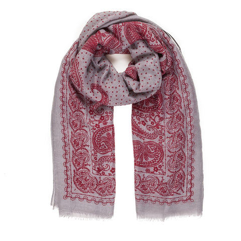 Spanish Design Printed Viscose Scarf (Gray Red Paisley) - Melifluos
