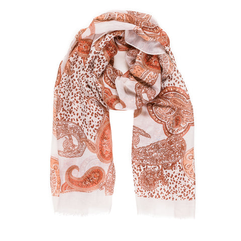 Spanish Design Printed Viscose Scarf (White Orange Paisley) - Melifluos