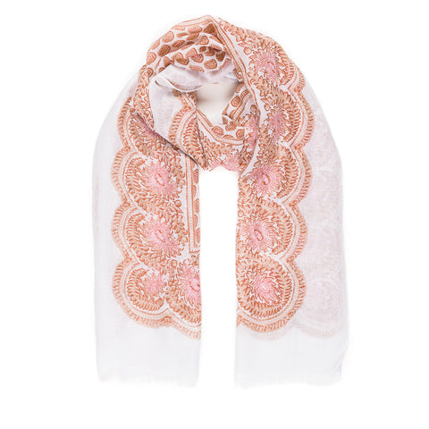 Spanish Design Printed Viscose Scarf (White Beige Paisley) - Melifluos