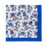 Spanish Design Printed Viscose Scarf (White Blue Floral) - Melifluos