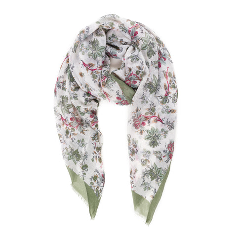 Spanish Design Printed Viscose Scarf (White Green Floral) - Melifluos