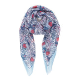 Spanish Design Printed Viscose Scarf (Light Blue Spanish Pattern) - Melifluos