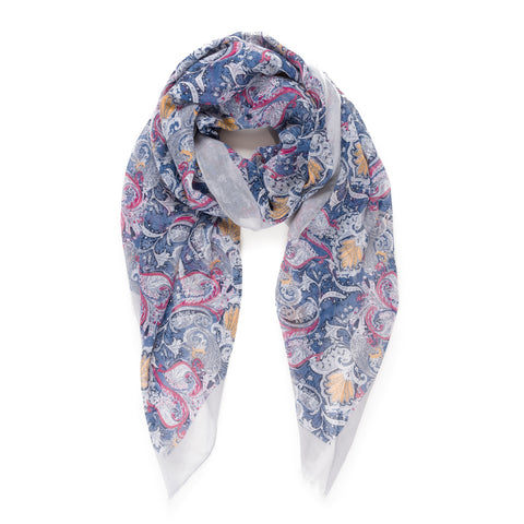 Spanish Design Printed Viscose Scarf (Dark Blue Spanish Pattern) - Melifluos